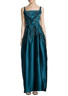 Zac Posen Sleeveless Beaded Duchesse Gown, Teal