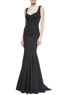 Zac Posen Sleeveless Bondage Mermaid Gown, Black