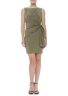 Zac Posen Sleeveless Side-Drape Dress, Green