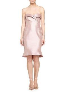 Zac Posen Stitch-Detail Bustier Dress, Dust Rose