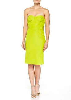 Zac Posen Strapless Cross-Seam Dress, Lime