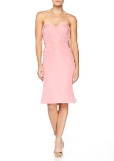 Zac Posen Strapless Cross-Seam Dress, Peony