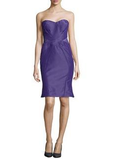 Zac Posen Strapless Cross-Seam Dress, Plum