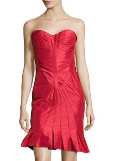 Zac Posen Strapless Fold-Detailed Faille Dress, Grenadine