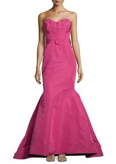 Zac Posen Strapless Fold-Detailed Mermaid Gown, Raspberry