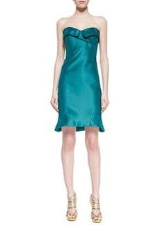 Zac Posen Strapless Folded Cocktail Dress, Teal