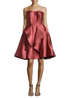 Zac Posen Strapless Peplum Full-Skirt Dress, Rose