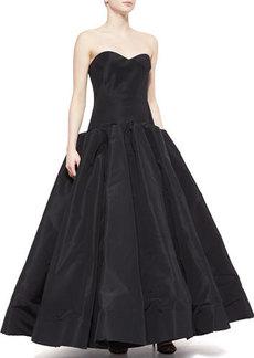Zac Posen Strapless Silk Ball Gown, Black