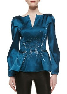 Zac Posen Stretch Duchesse Peplum Top, Teal