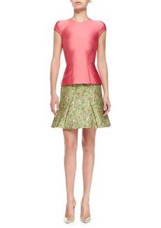 Zac Posen Structured Satin T-Shirt, Coral