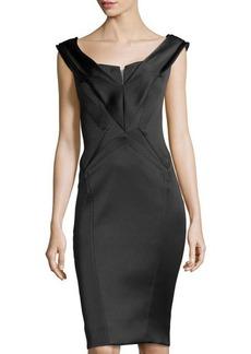 Zac Posen Structured V-Neck Dress, Black