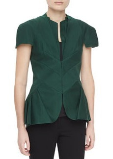 Zac Posen Textured Short-Sleeve Pleated Peplum Jacket