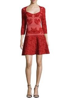 Zac Posen Three-Quarter Sleeve Jacquard Dress, Red/Rust