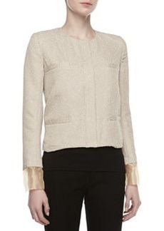 Zac Posen Tweed Placket Boxy Jacket, Beige