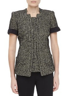 Zac Posen Tweed Short-Sleeve Jacket