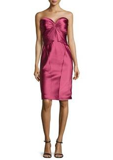 Zac Posen Twist-Pleated Strapless Cocktail Dress, Cherry