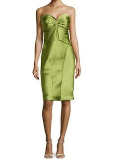 Zac Posen Twist-Pleated Strapless Cocktail Dress, Lime