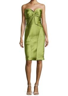 Zac Posen Twist-Pleated Strapless Cocktail Dress, Lime