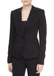 Zac Posen Two-pocket Jacquard Jacket, Black