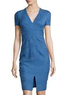 Zac Posen V-Neck Jacquard Sheath Dress, Royal Blue