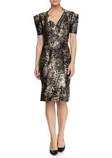 Zac Posen V-Neck Short-Sleeve Metallic Dress
